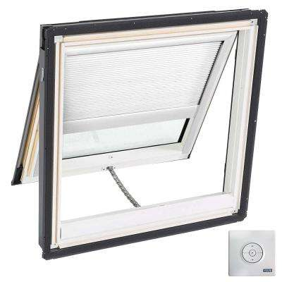 44-1/4 in. x 45-3/4 in. Venting Deck-Mount Skylight w/ Laminated Low-E3 Glass, White Solar Powered Light Filtering Blind