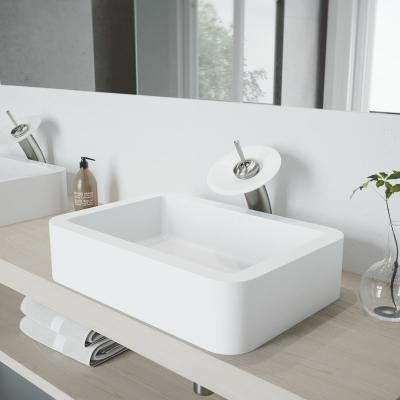 Petunia Vessel Sink in White Matte Stone with Waterfall Faucet in Chrome and Pop-Up Drain Included