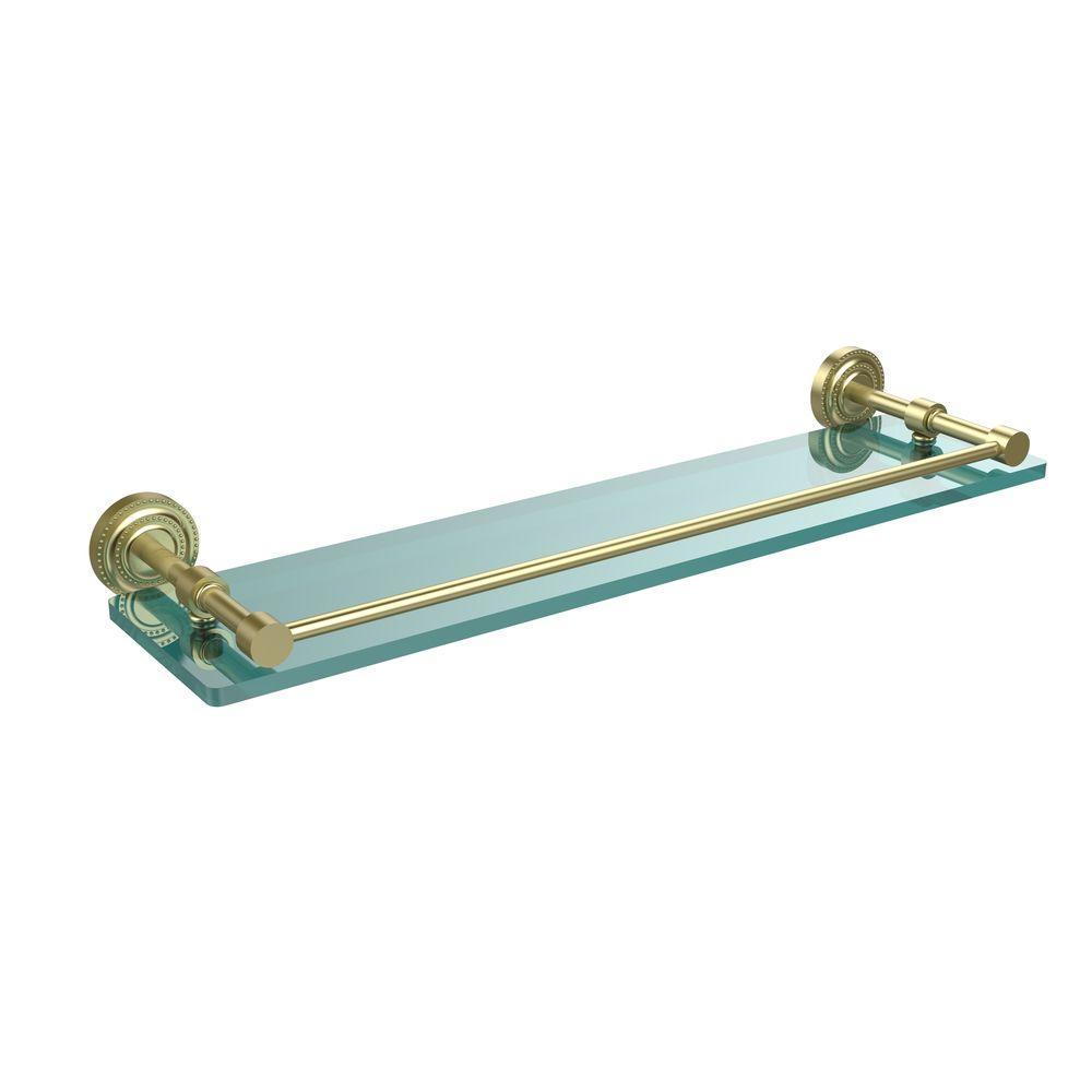 Dottingham 22 in. L  x 3 in. H  x 5 in. W Clear Glass Bathroom Shelf with Gallery Rail in Satin Brass