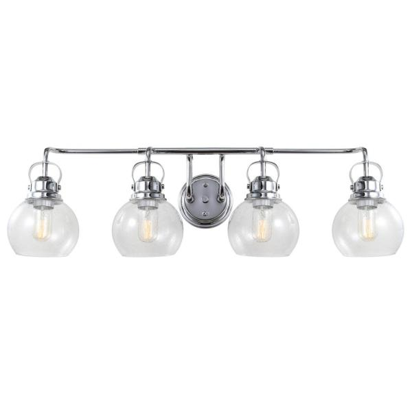 Shirley 34 in. 4-Light Metal/ Bubbled Glass Chrome Vanity Light