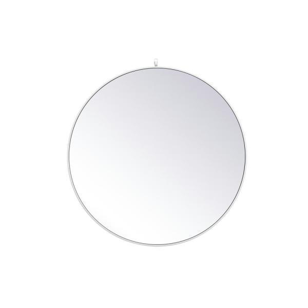 Medium Round White Modern Mirror (39 in. H x 39 in. W)