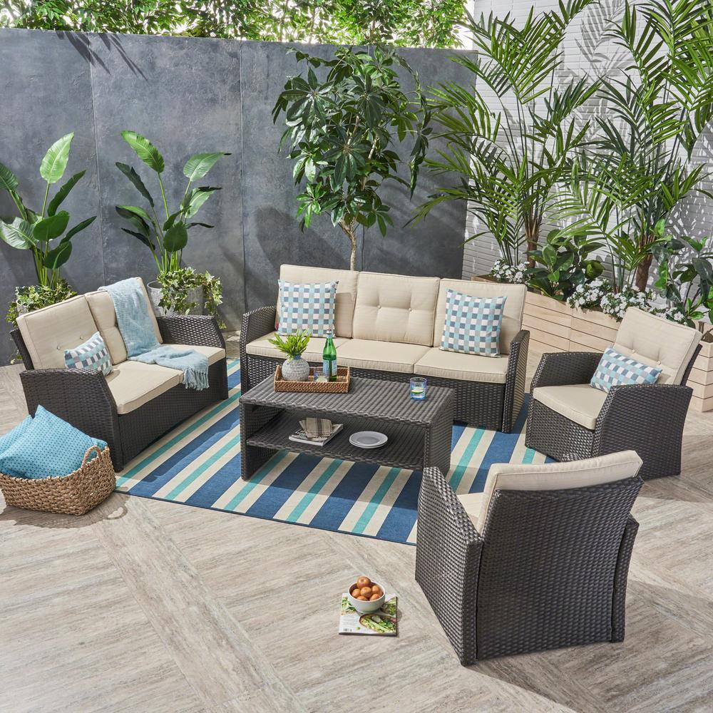 Sanger Dark Brown 5-Piece Wicker Patio Conversation Set with Beige Cushions