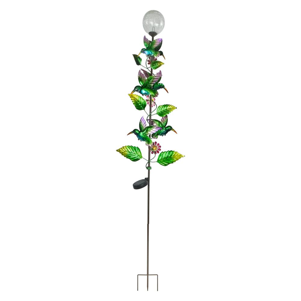 Alpine Corporation 64 in. Tall Solar Metal Hummingbird Garden Stake with White LED Light
