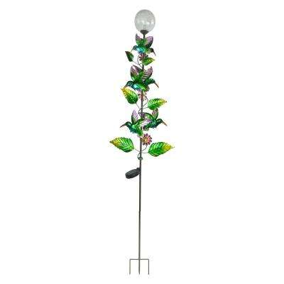 64 in. Tall Solar Metal Hummingbird Garden Stake with White LED Light