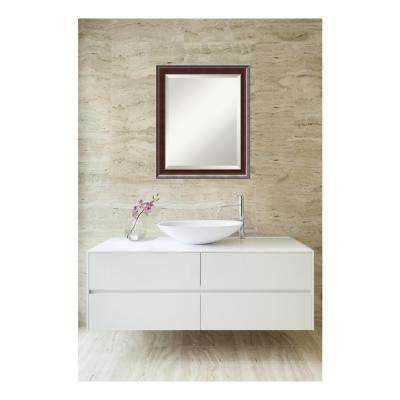 Country Walnut Wood 19 in. W x 23 in. H Traditional Bathroom Vanity Mirror