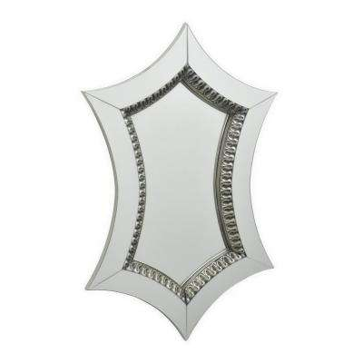 23 in. Three Hands Silver Wood Mirror