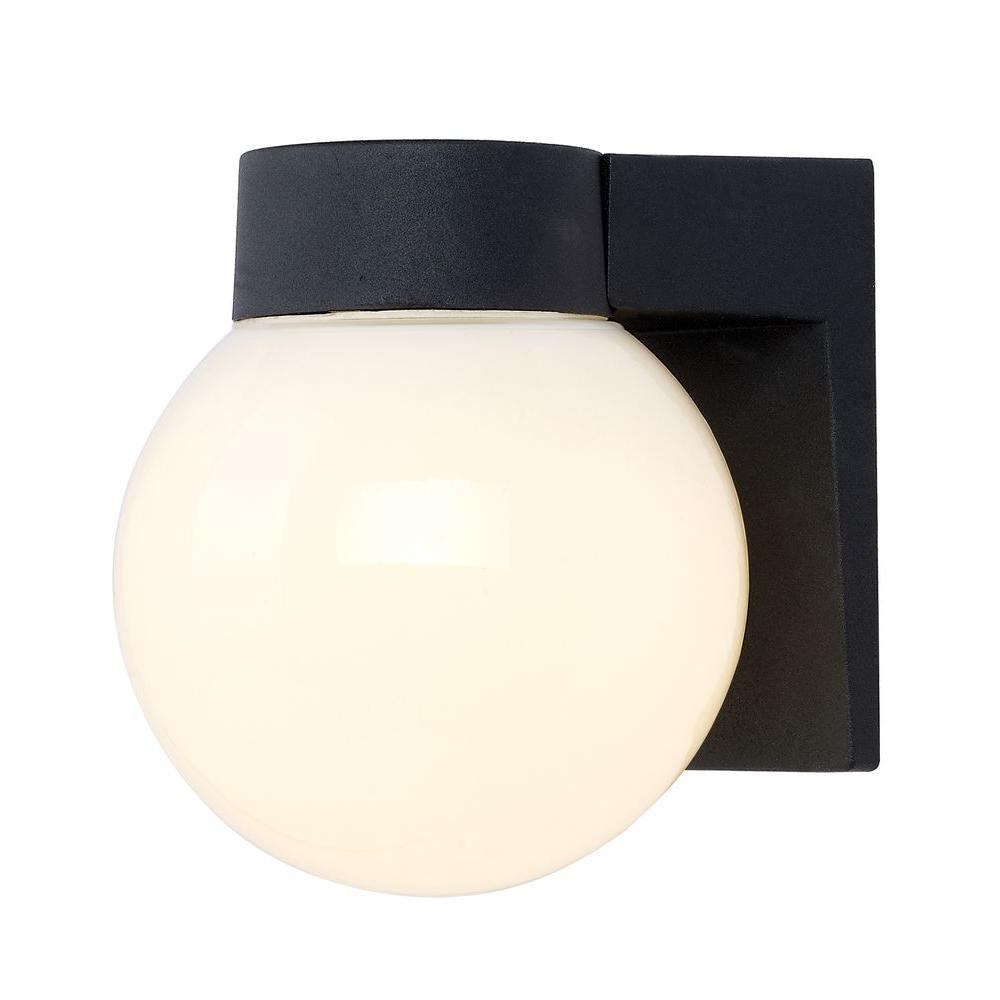 Hampton Bay Black Outdoor Energy Star LED Wall Lantern-1000711953 ...