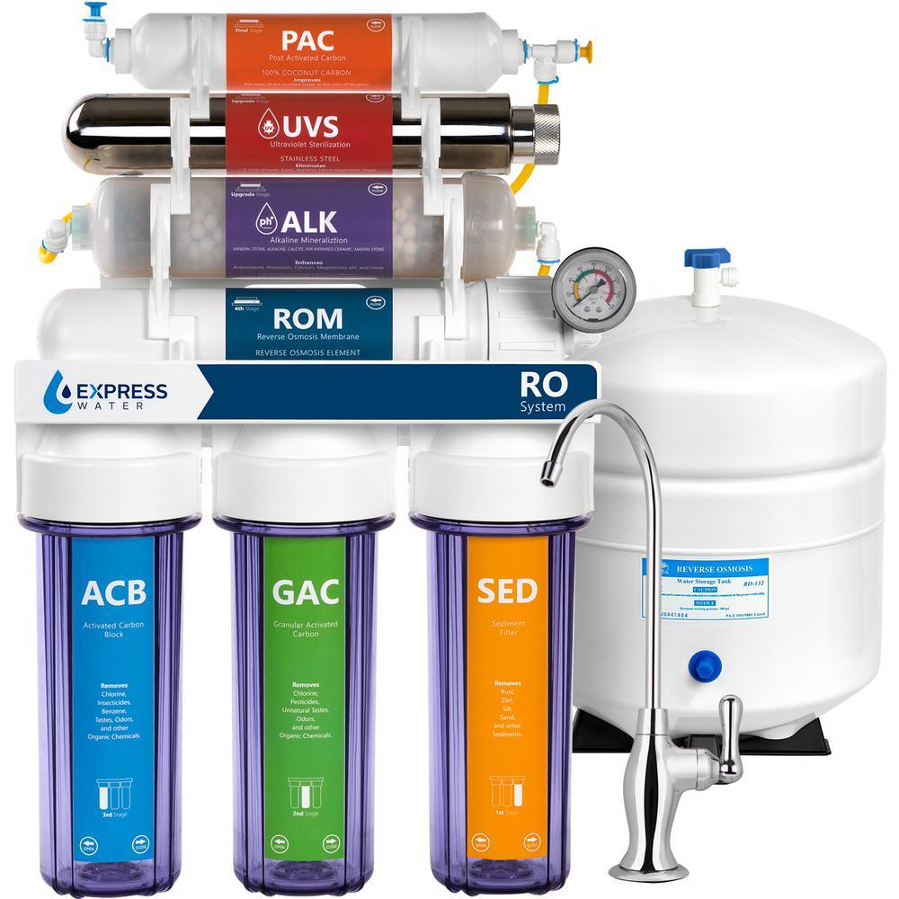 Express Water Alkaline UV Under Sink Reverse Osmosis Filtration - 11 Stage Filter w/ Faucet & Tank - 100 GPD w/ Gauge & Clear Housing
