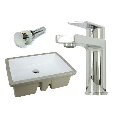 22-1/8 in. Rectangle Undermount Vitreous Glazed Ceramic Sink with Polished Chrome Bathroom Faucet /Pop-up Drain Combo