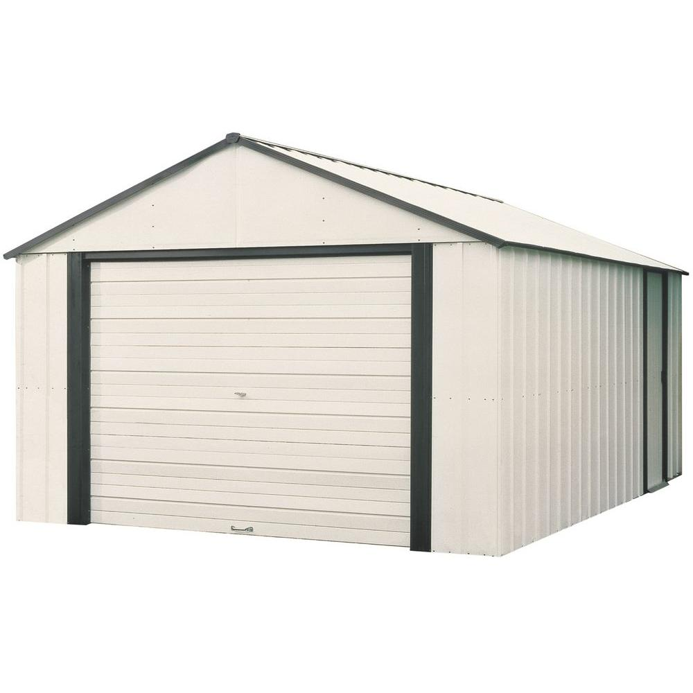 Arrow Murryhill 12 ft. W x 17 ft. D 2-Tone White Galvanized Vinyl-Coated Metal Garage Type Storage Shed