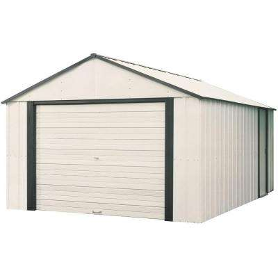 Murryhill 12 ft. W x 17 ft. D 2-Tone White Galvanized Vinyl-Coated Metal Garage Type Storage Shed