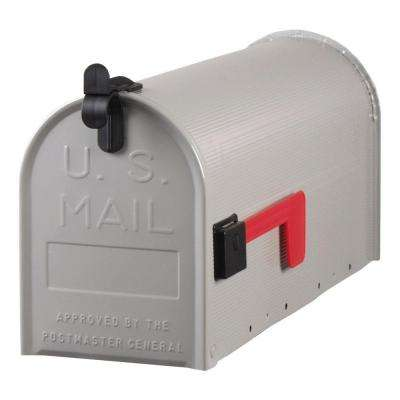 Standard Steel Ribbed Post-Mount Mailbox in Grey