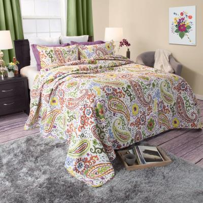 Trista Green Cotton Full and Queen Quilt