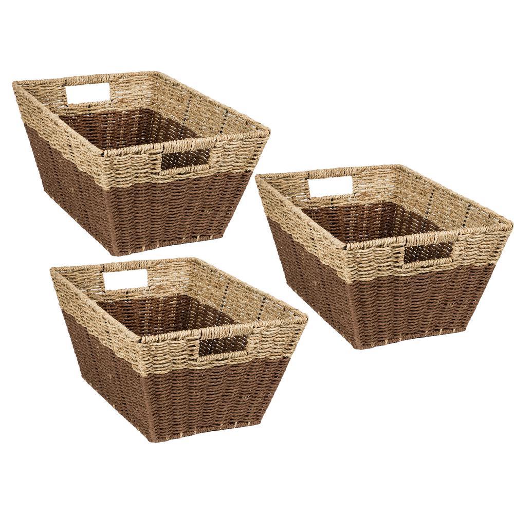 7.5 Gal. Seagrass Storage Baskets in Dark Brown (3-Pack)