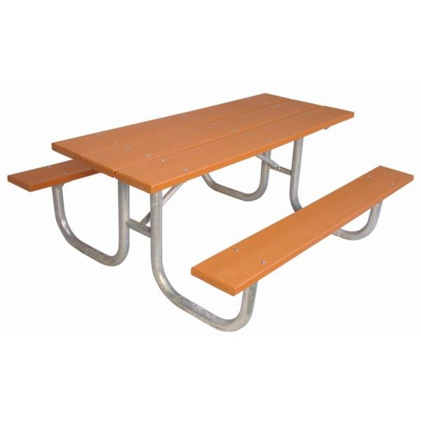 6 ft. Cedar Commercial Park Recycled Plastic Portable Table and Surface Mount