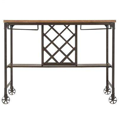 Olson Brown Dining Table with Wine Storage