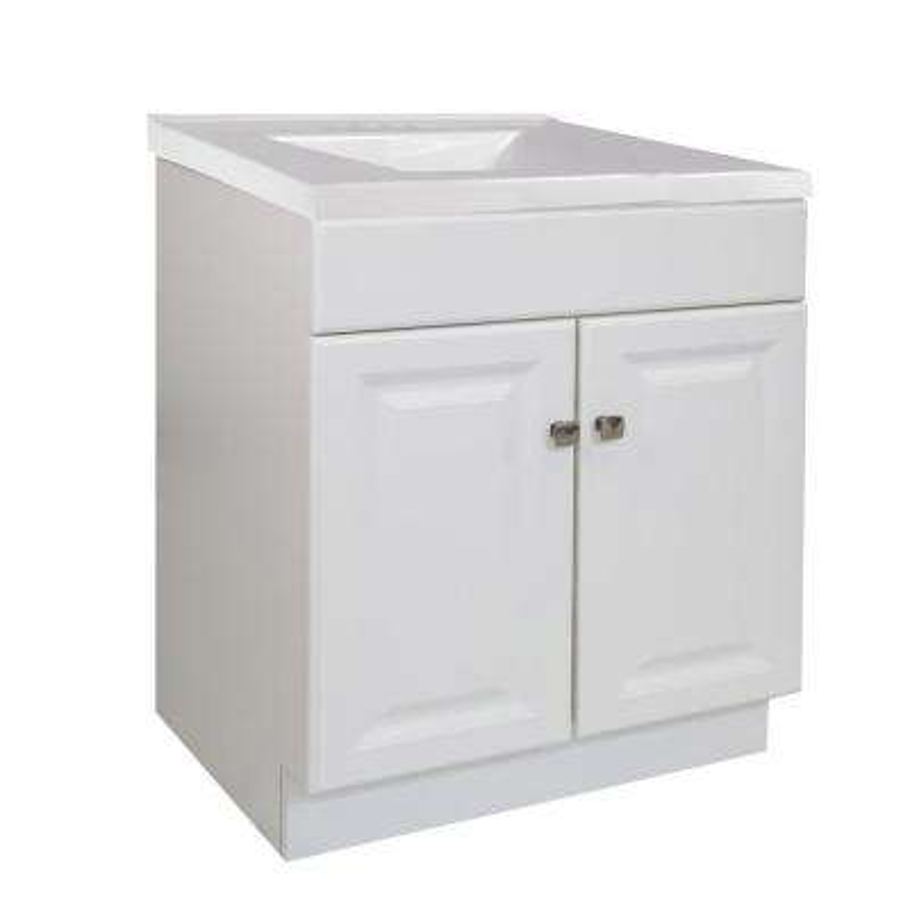 30 in. x 21 in. x 33.5 in. 2-Door Bath Vanity in White w/ 4 in. Centerset Solid White CM Contempo Vanity Top w/ Basin
