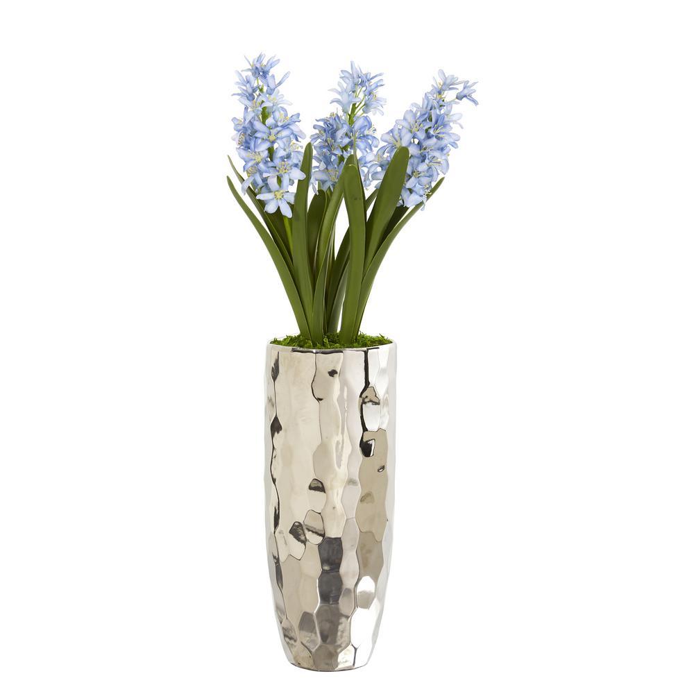 Hyacinth Artificial Arrangement in Silver Vase