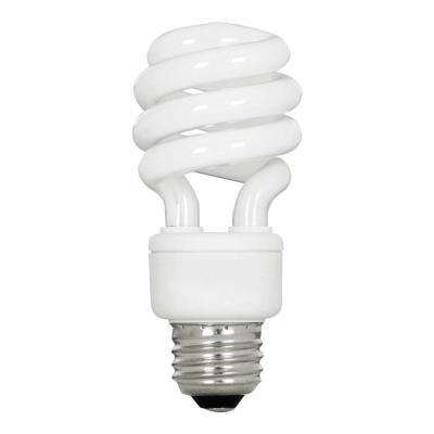 60-Watt Equivalent T3 Spiral Non-Dimmable E26 Base Compact Fluorescent CFL Light Bulb, Soft White 2700K (48-Pack)