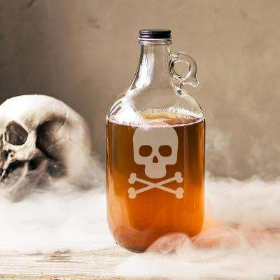 10.44 in. Skull and Crossbones Halloween Craft Beer Growler