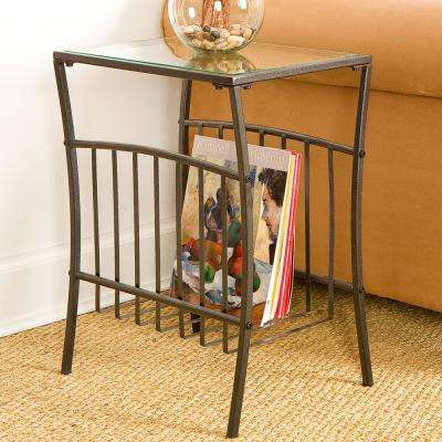 Black Metal Contoured End Table