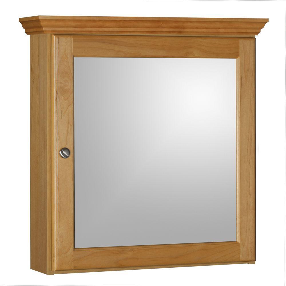 Ultraline 24 in. W x 27 in. Hx 6-1/2 in. D Framed Surface-Mount Bathroom Medicine Cabinet in Natural Alder