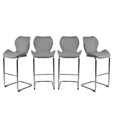 Grey Modern Metal Bar Stools (Set of 4)