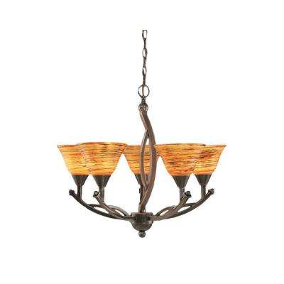 Concord 5-Light Black Copper Chandelier with Fire Saturn Glass