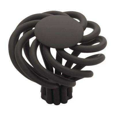 Swirl 1-1/2 in. (38mm) Flat Black Large Wire Flat Top Cabinet Knob