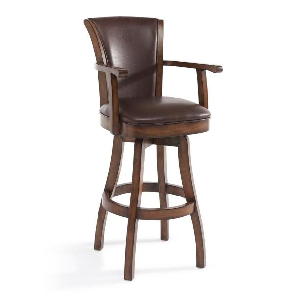 Raleigh 26 in. Kahlua Faux Leather and Chestnut Wood Finish Armed Swivel Barstool