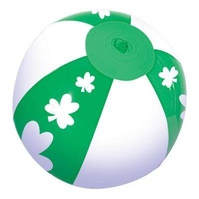 7 in. St. Patrick's Day Green and White Vinyl Shamrock Inflatable Ball (22-Pack)