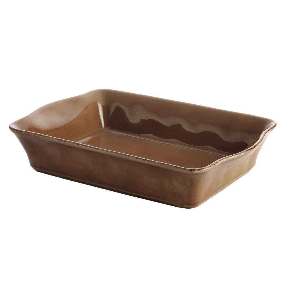 Rachael Ray Cucina Stoneware 9 in. x 13 in. Rectangular Baker in Mushroom Brown
