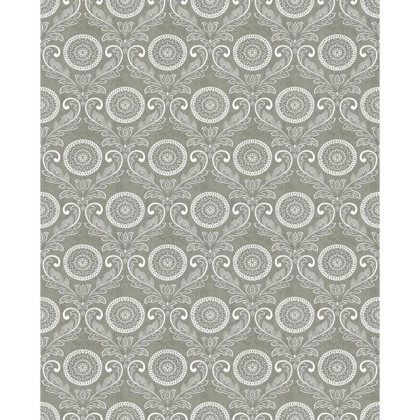 A-Street Jubilee Grey Medallion Damask Wallpaper 2702-22714