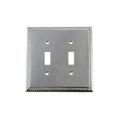 Rope Switch Plate with Double Toggle in Bright Chrome