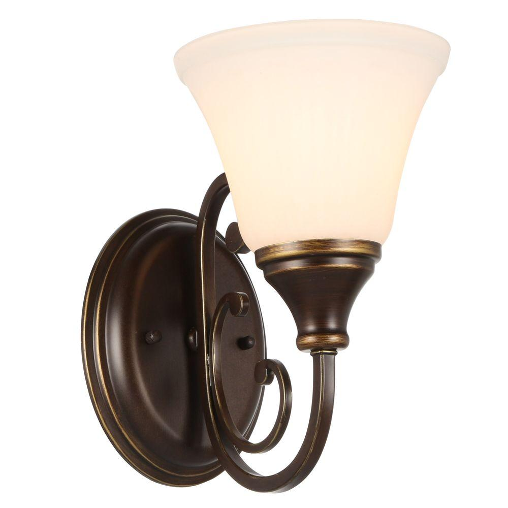 Hampton Bay Somerset 1 Light Bronze Sconce With Bell Shaped Frosted Gl Shade