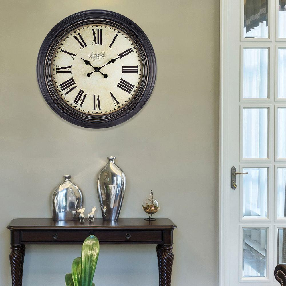 23 in. H Round Brown Antique Dial Analog Wall Clock with