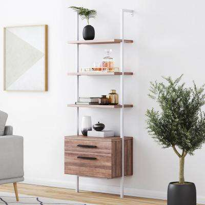 Theo Rustic Oak Wood and White Steel Frame Bookcase or Bookshelf with 2 Drawers