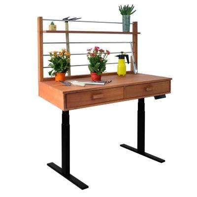 Sit to Stand 48 ft. x 26 ft. x 55 to 82 ft. Wood Potting Bench with Black Frame