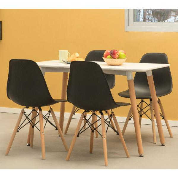 Bold Tones Mid Century Modern Black Style Plastic Dsw Shell Dining Chair With Solid Beech Wooden Dowel Eiffel Legs Set Of 4 Qi003746 Bk 4 The Home Depot
