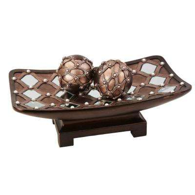 Brown Arabesque Polyresin Decorative Bowl With Spheres