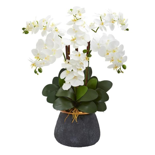 Nearly Natural Phalaenopsis Orchid Artificial Arrangement in Stoneware Vase 1933-WH