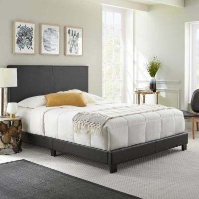 barrett black queen upholstered platform bed