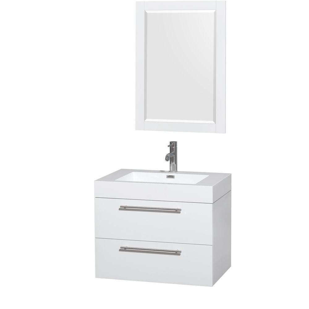 Wyndham Collection Amare 29 In. Vanity In Glossy White With Acrylic Resin Vanity  Top