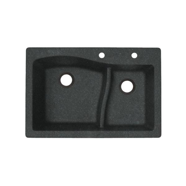 Dual-Mount Granite 33 in. x 22 in. 2-Hole 60/40 Double Bowl Kitchen Sink in Nero