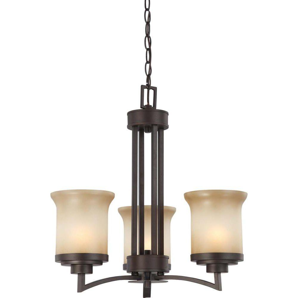3-Light Dark Chocolate Bronze Chandelier with Saffron Glass Shade