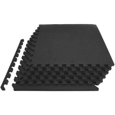 Thick Puzzle Exercise Mat Black 24 in. x 24 in. x 0.75 in. EVA Foam Interlocking Anti-Fatigue (6-pack) (24 sq. ft.)