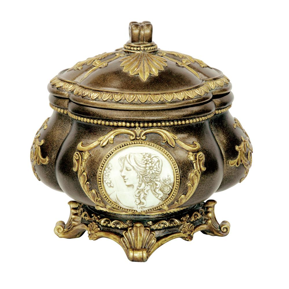 OK LIGHTING Cameo Polyresin Decorative Box with Lid, Bronze was $59.18 now $41.42 (30.0% off)