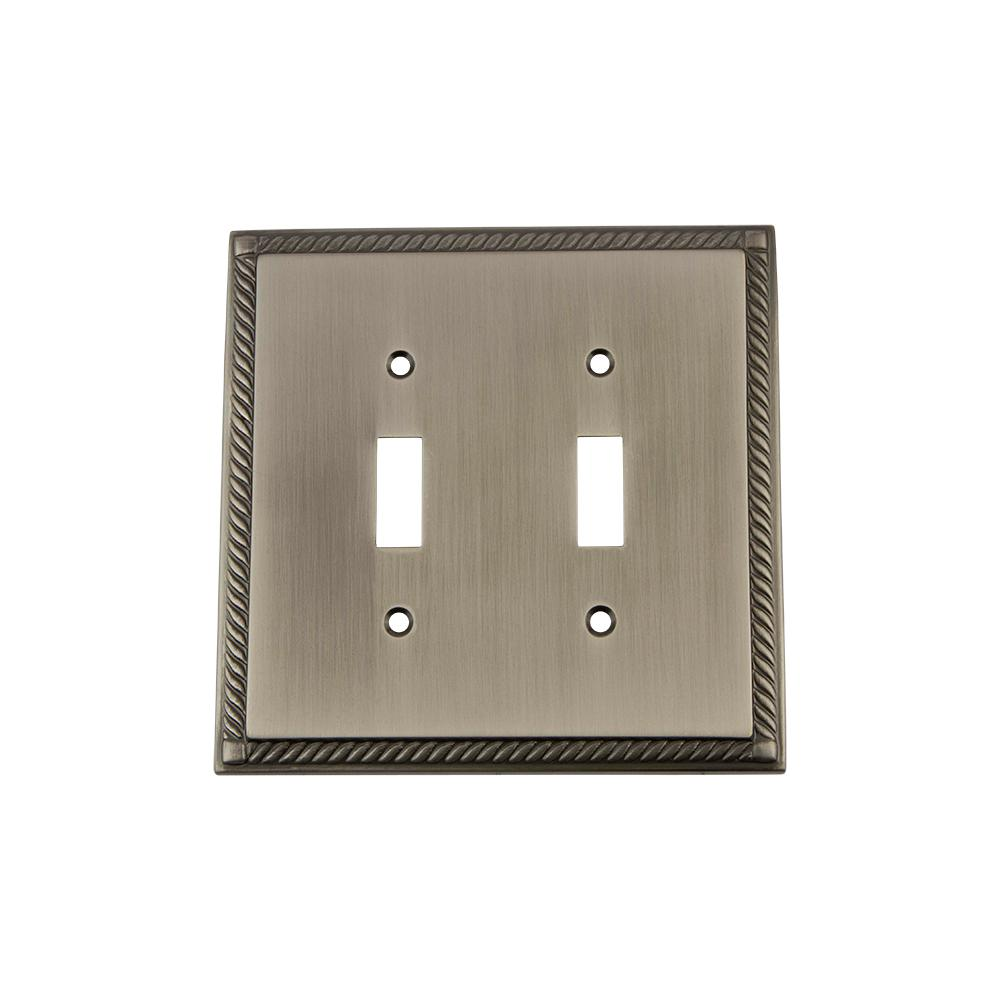 Rope Switch Plate with Double Toggle in Antique Pewter