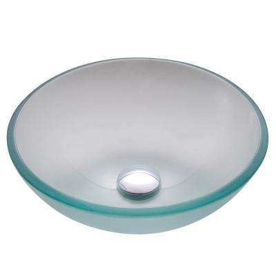 14 in. Glass Vessel Sink in Frosted