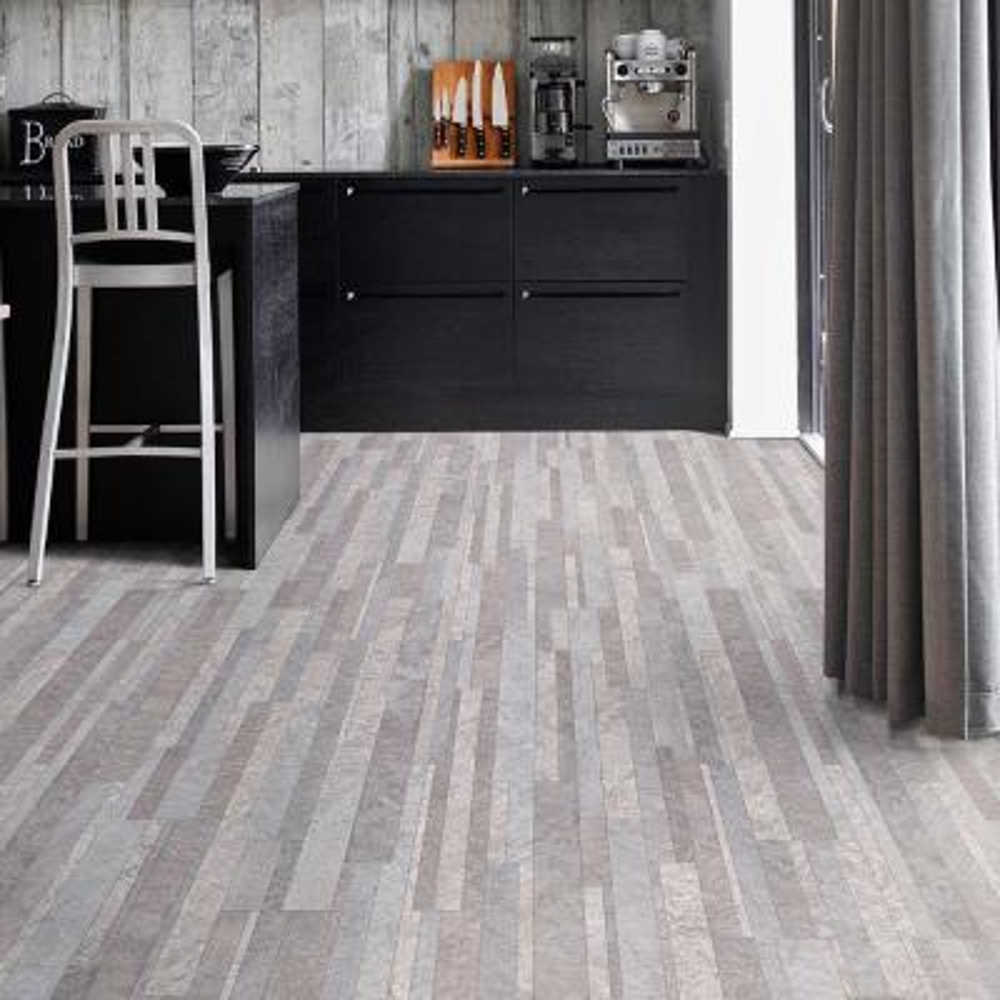 Broken Slate Grey Stone Residential/Light Commercial Vinyl Sheet Flooring 12ft. Wide x Cut to Length